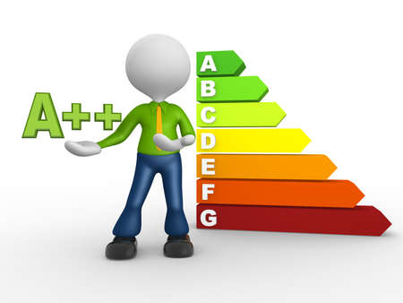 classification: 3d people - man, person and a energy chart with clipping path. Energy efficiency concept. Stock Photo