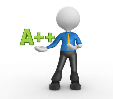 energy classification: 3d people - man, person and a sign. Energy efficiency concept.