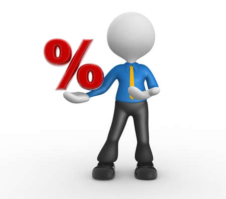 reduction: 3d people - man, person with a percent sign.  Stock Photo