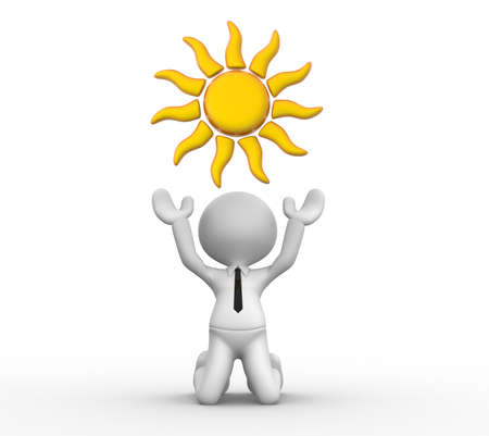 overhead: 3d people - man, person with sun overhead Stock Photo