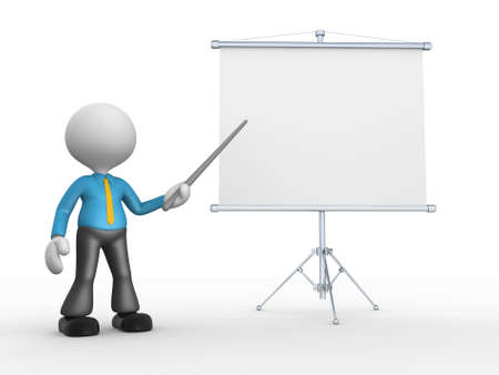 man presenting: 3d people - man, person presenting at flip chart. Stock Photo
