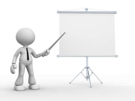 3d people - man, person presenting at flip chart. photo