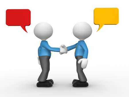 3d people - man, person shaking hands with speech bubbles  photo