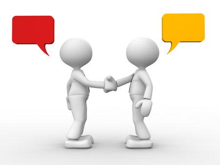 dialogo: 3d gente - hombre, persona d�ndole la mano a las burbujas del discurso