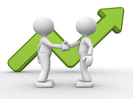 3d people - men, person shake hands with a growing graph. Deal photo