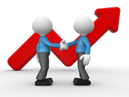 growing partnership: 3d people - men, person shake hands with a growing graph. Deal Stock Photo