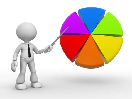 3d people - man, person pointing a pie chart.  photo