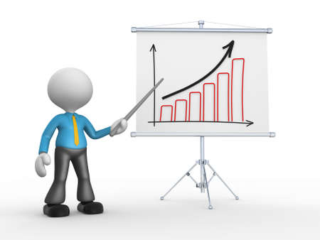 3d people - man, person with a graph financial. Businessman  photo