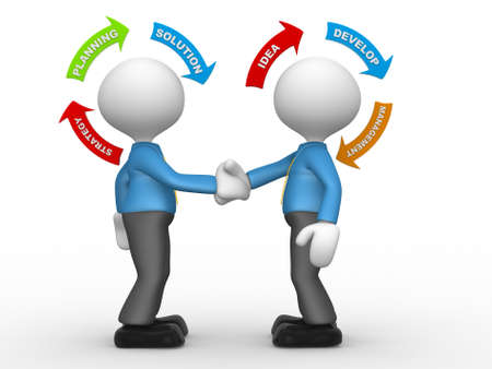 3d people - men, person shaking hands and arrows. Partnership. Concept of strategy photo