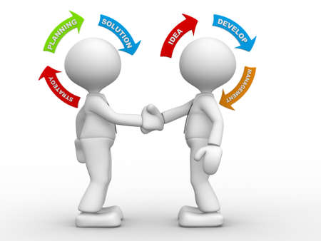 3d guy: 3d people - men, person shaking hands and arrows. Partnership. Concept of strategy Stock Photo