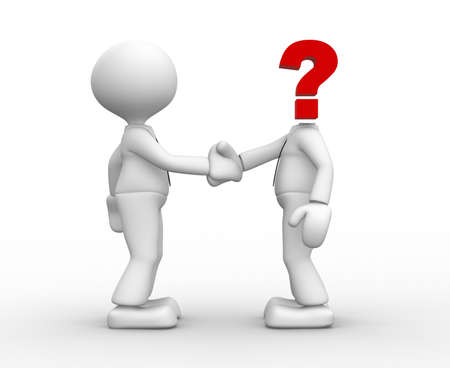 Two 3d people shaking hands. Question mark - unknown person.