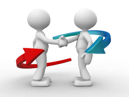 two people meeting: 3d people - men, person shaking hands and an arrows. Partnership.