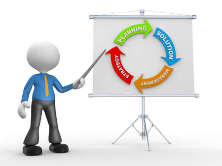 flipchart: 3d people - man, person presenting at flip chart. Strategy concept Stock Photo