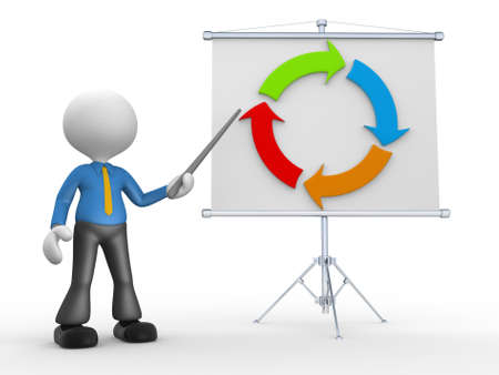 3d people - man, person presenting at flip chart and arrow photo