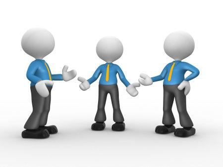autoridad: 3d personas - hombres, persona que habla en el grupo. Hombre de negocios