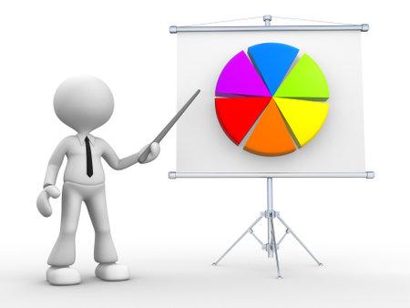 flipchart: 3d people - man, person presents pie chart. Flip chart  with a financial chart