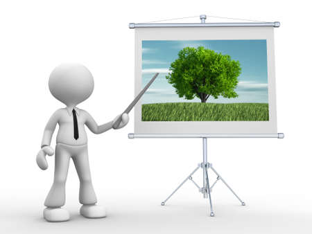 3d people - man, person pointing at a flip board with scenery of nature.  photo