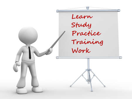 practice: 3d people - man, person with a flip chart. Learn, study, practice, training, work
