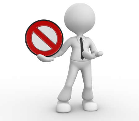 3d people - man, person with a stop sign. Stock Photo