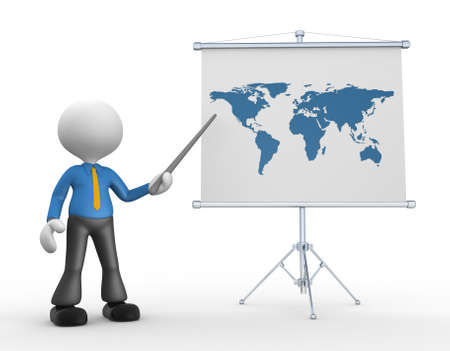 3d people - man, person with the world map  photo