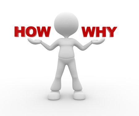 3d mensen - een man, persoon en woord hoe waarom