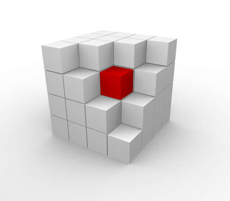 building blocks business: abstract 3d illustration of cube assembling from blocks  Stock Photo