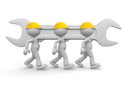 3d people - men, person with a wrench  Businessman and builder  Teamwork Stock Photo - 20238554