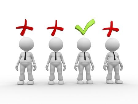 3 d の人々 - 男性、正と負の記号を持つ人。