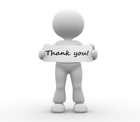 3d people - man, person holding thank you board. Stok Fotoğraf - 20489828