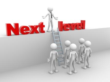 3D 사람 - 사람, 사다리를 가진 사람. 다음 수준. 진행 개념. 스톡 콘텐츠