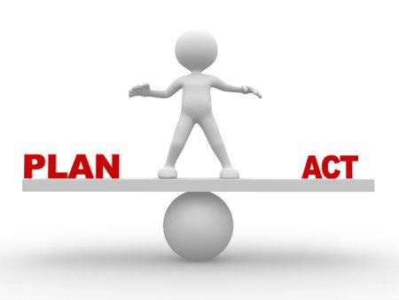 3d personnes - homme, personne debout sur une balançoire entre planifier et d'agir