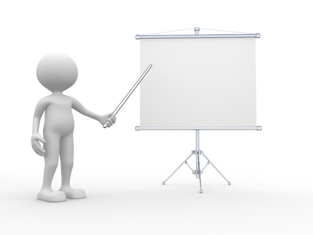 3d people - man, person presenting at a flipchart. Business board Banco de Imagens
