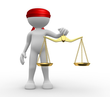 3D man met een gewicht schaal. Symbool van rechtvaardigheid.