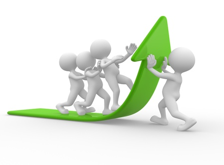 3d mensen - een man, persoon en een pijl. Team gaat op de groene pijl Stockfoto