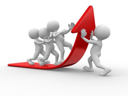 3d mensen - een man, persoon en een pijl. Team gaat op de rode pijl Stockfoto