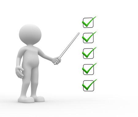 3d mensen - een man, persoon met een checklist. Zakenman.