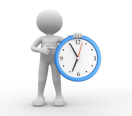 3d mensen - een man, persoon en een klok