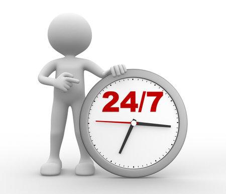 """3d mensen - een man, persoon met een klok en de tekst """"247"""""""