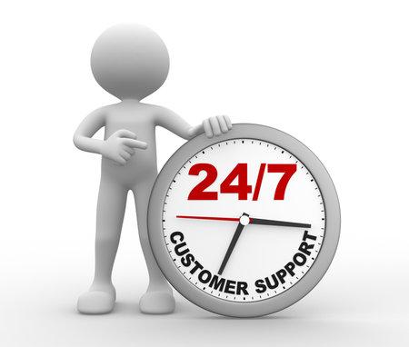 """3d mensen - een man, persoon met een klok en de tekst """"customer support 247"""""""