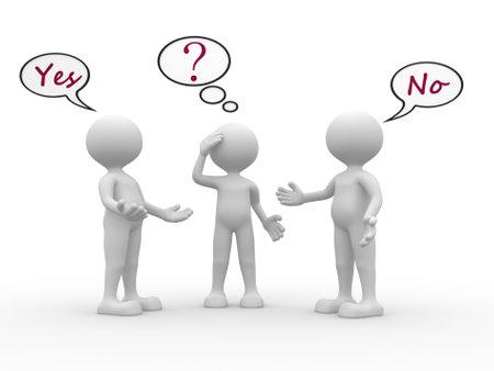 3d personas - hombres, personas con las burbujas del discurso y el texto sí y no. Confundido Foto de archivo - 20852057