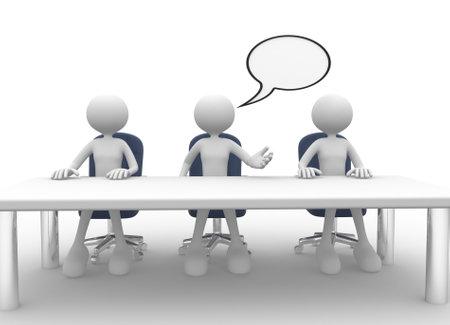 3d mensen - mannen, persoon aan vergadertafel. Vergadering.