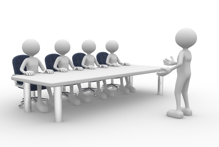 3d people - man, person at a conference table. Employee and employer in the meeting. Zdjęcie Seryjne