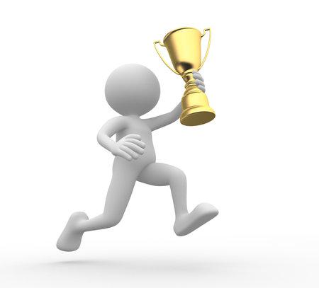 3d mensen - een man, persoon met gouden trofee Stockfoto