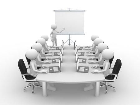 3d mensen - mannen, persoon aan tafel conferentie en een flip-over. Stockfoto