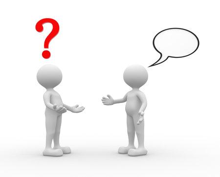 3d mensen - een man, persoon praten - ruzie. Vraagteken en lege zeepbel