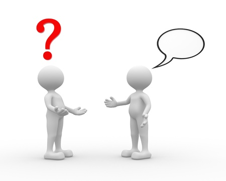 3d people - man, person talking - arguing. Question mark and blank bubble