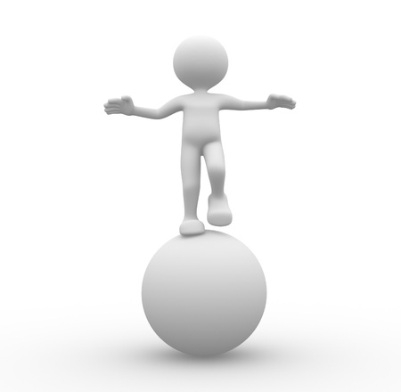 3d people - man, person in equilibrium on a ball. Stock fotó - 20852170