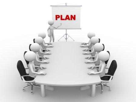 3d mensen - een man, persoon aan tafel conferentie en een flip-over. Plan Stockfoto