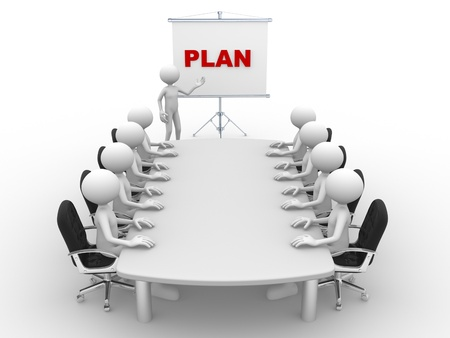 3d people - man, person at conference table and a flipchart. Plan