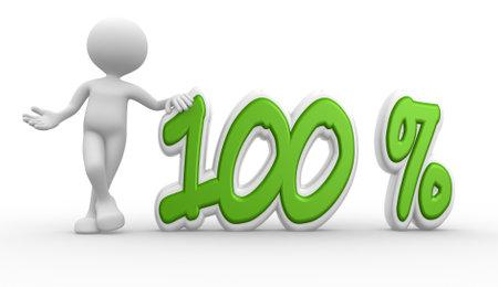 3d mensen - een man, persoon en procentteken. 100%